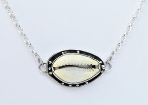 Cowrie Shell with Oxidised Edge Pendant