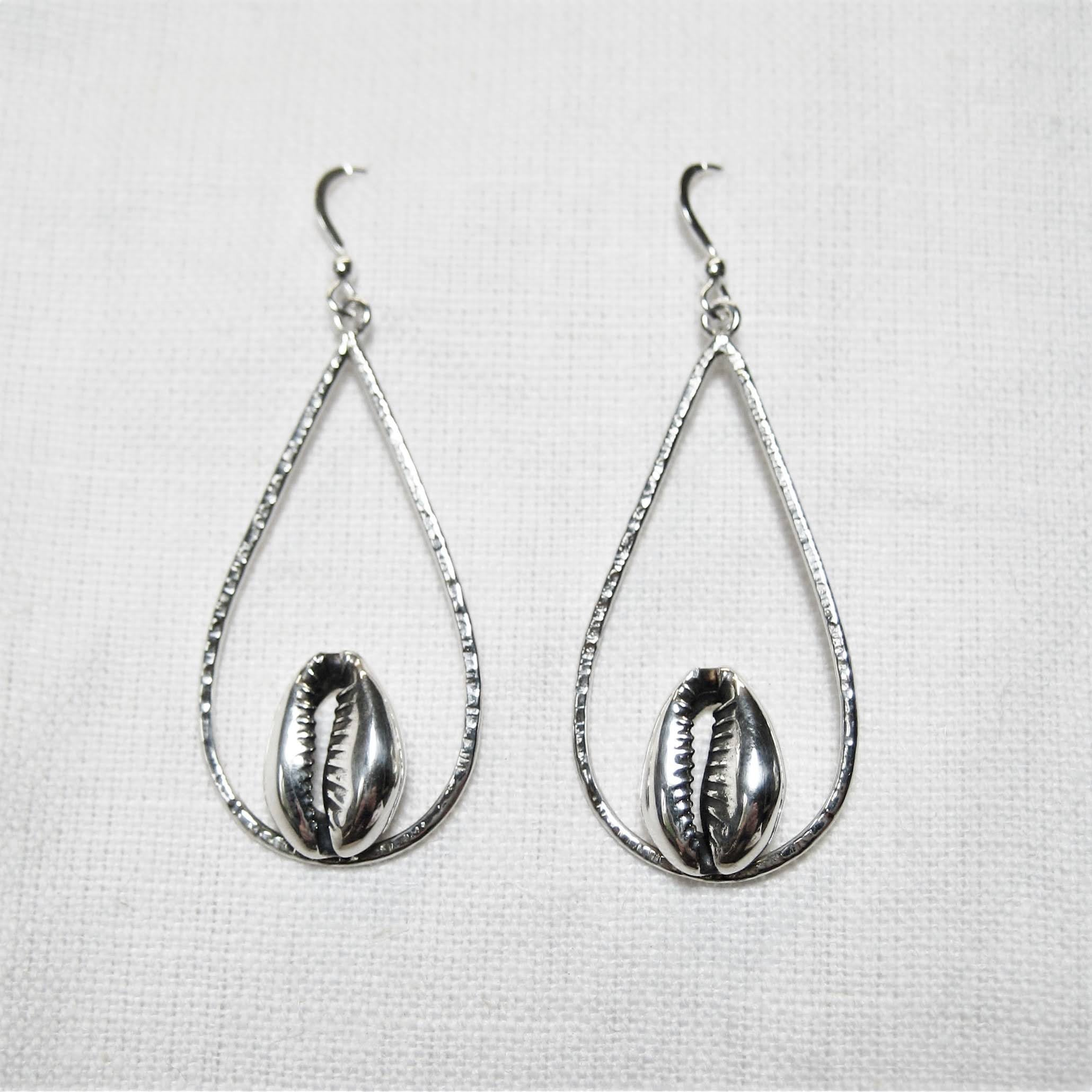 Teardrop Silver Cowrie earrings