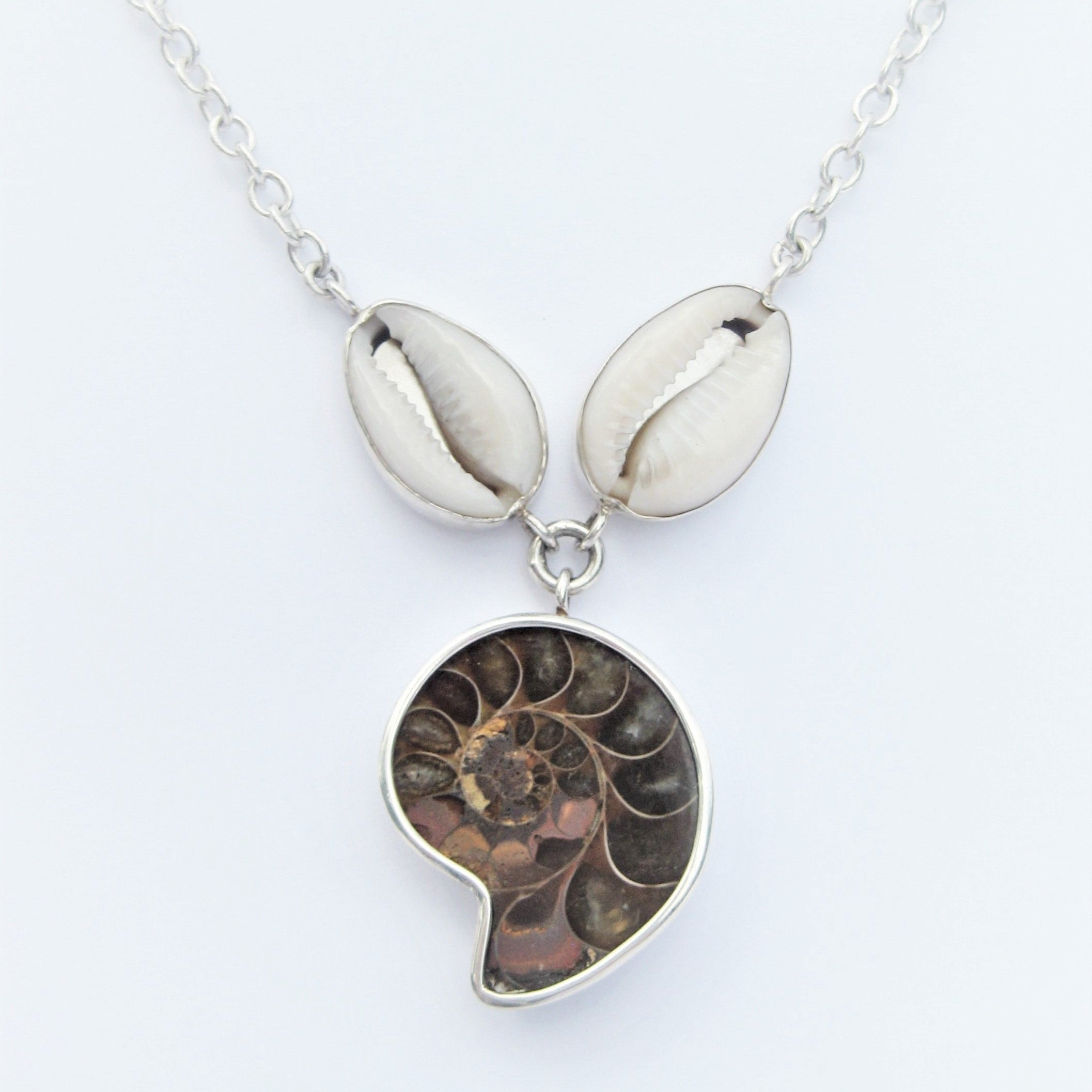 Ammonite and Cowrie Shell Necklace