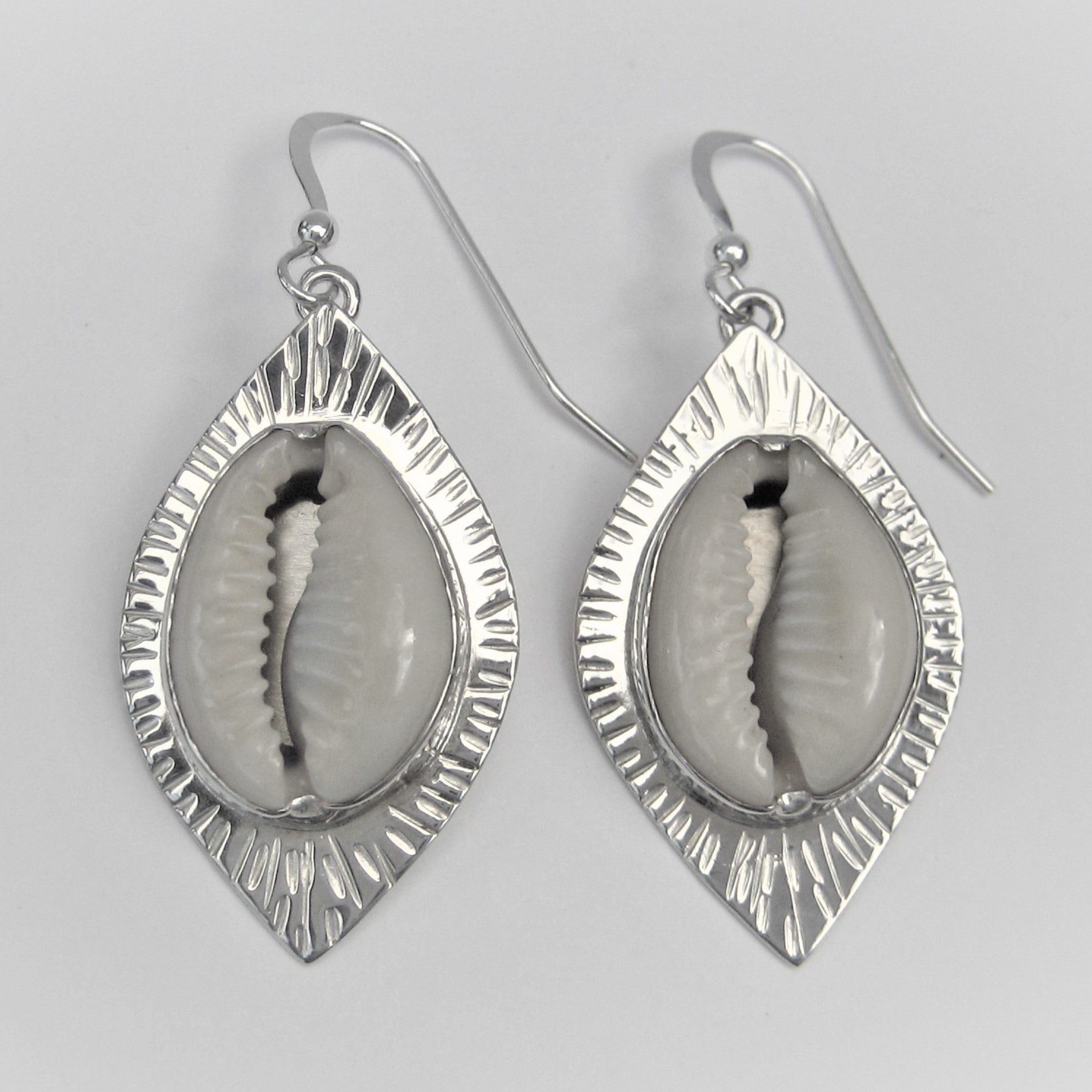 Cowrie with textured edge earrings