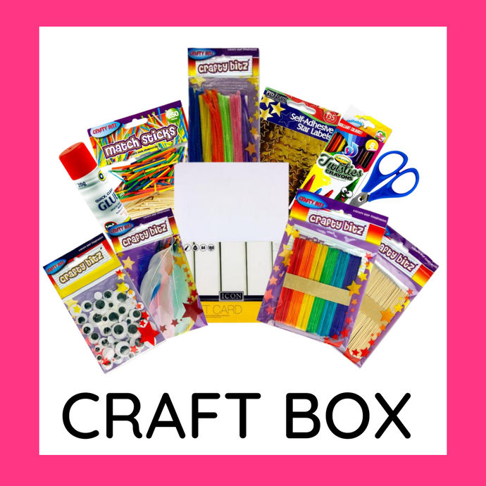 "Each craft box contains 50 sheets A4 White Card, 42 12"" neon pipe cleaners, 50 standard size natural lollipop sticks, 42 standard size coloured lollipop sticks, 50 Wiggle eyes in assorted sizes, 250 assorted match sticks, 135 gold star stickers, 10g bag of Duck Quill Feathers, 60 2.5"" fluorescent flash stars, 20g glue stick, Safety scissors (in blue or green), 8 Twisties crayons"