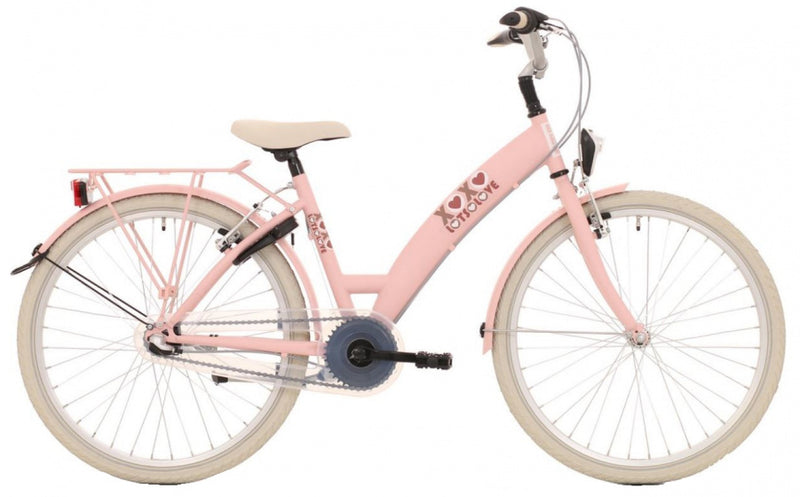 Bike Fun Lots Of Love 24 Inch 39 Cm Meisjes 3V V-Brakes Roze/Wit