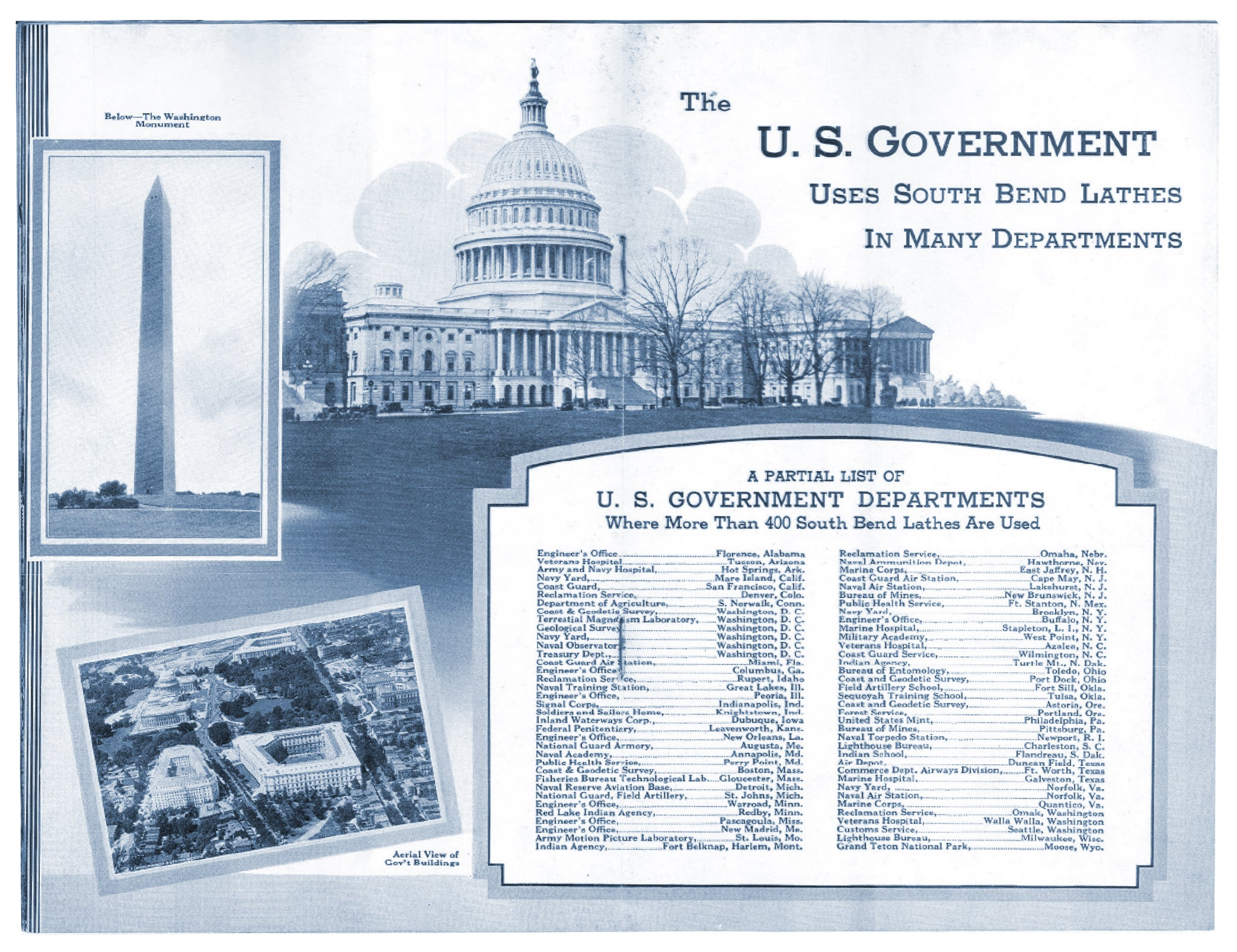 Two page spread on government departments using South Bend from 1935 - Interesting Installations of South Bend Lathes
