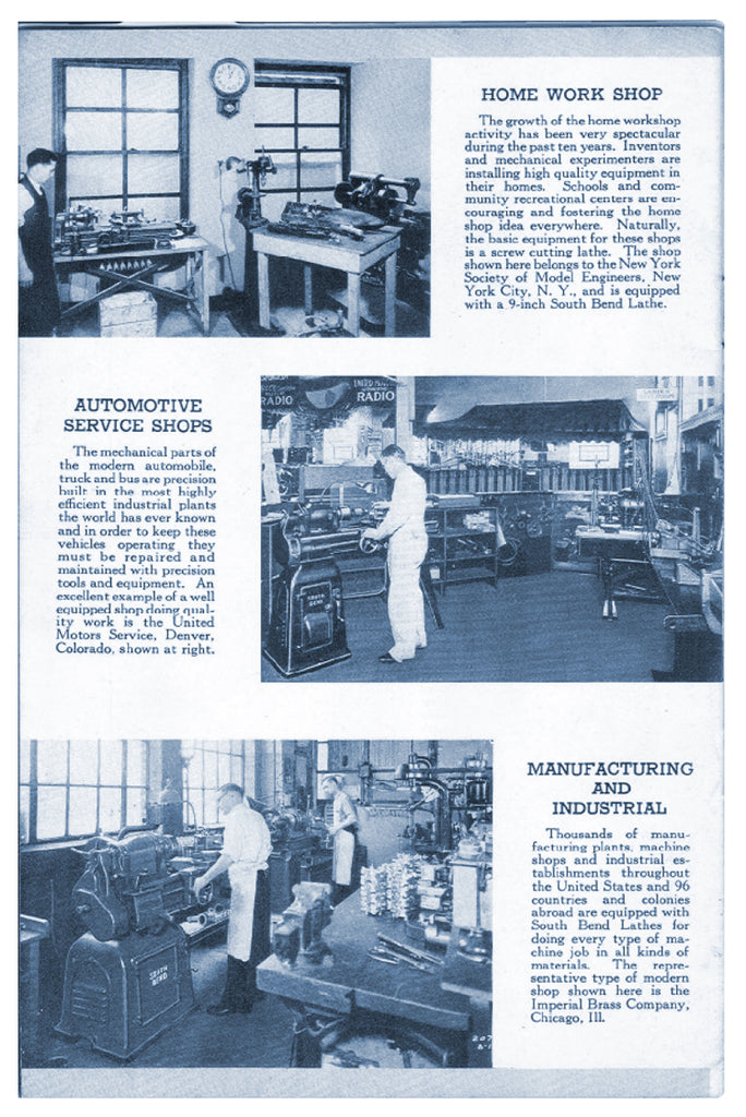 Home Work Shop, Automotive Shop, and Manufacturing and Industrial page from - 1935 - Interesting Installations of South Bend Lathes