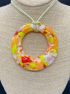 Pendant Orange, Lime Green White and Clear Frit