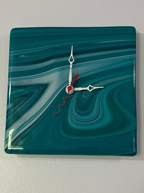 Fused Glass Clock Turquoise and White (Two Styles)