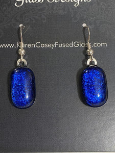 Fused Glass Earrings/Dichroic Glass Royal Blue