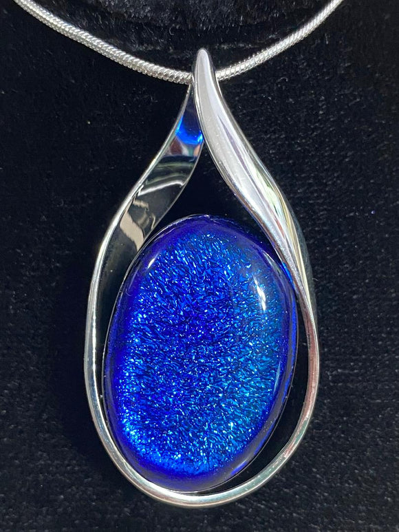 Pendant Blue Purple Dichroic Oval