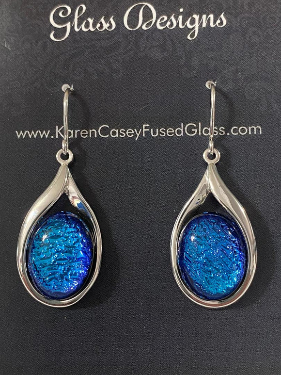 Fused Glass Earrings Dichroic in Oval setting