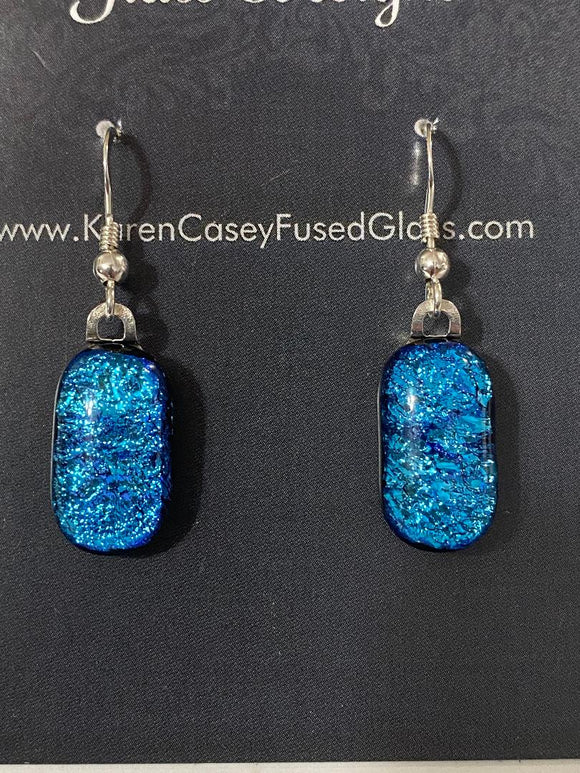 Fused Glass Earrings/Dichroic Glass/Bright Blue
