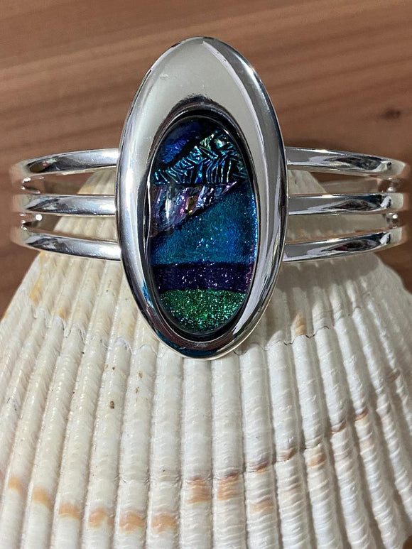 Bracelet Cuff Long Oval Multi-Colored Dichroic