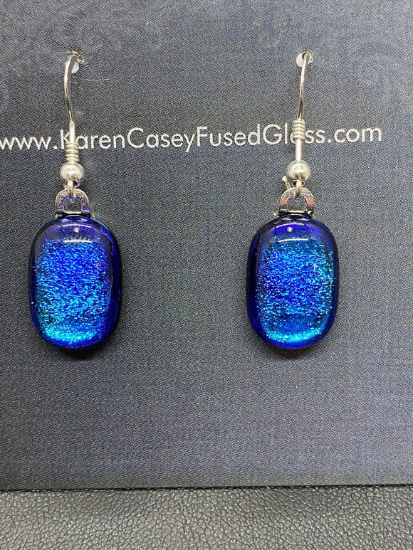 Earrings Blue Purple Dichroic