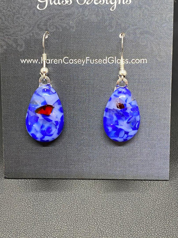 Earrings Blue White Frit