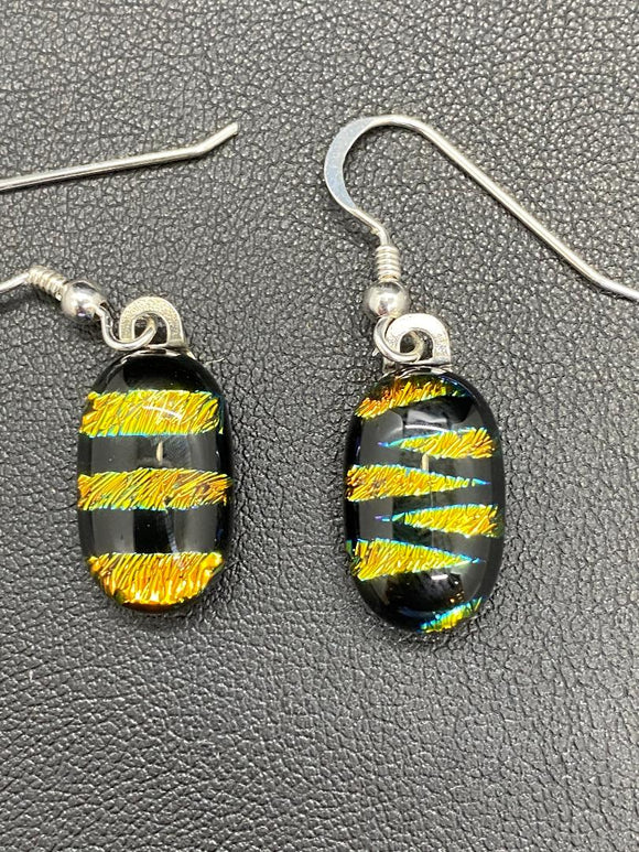 Earrings Orange black stripe Dichroic