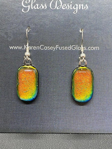 Earrings Deep Orange, Gold Green Dichroic