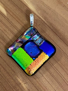 Pendant Diamond Shape Dichroic Textured