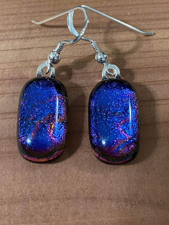 Earrings Purple Maroon Ripple Dichroic