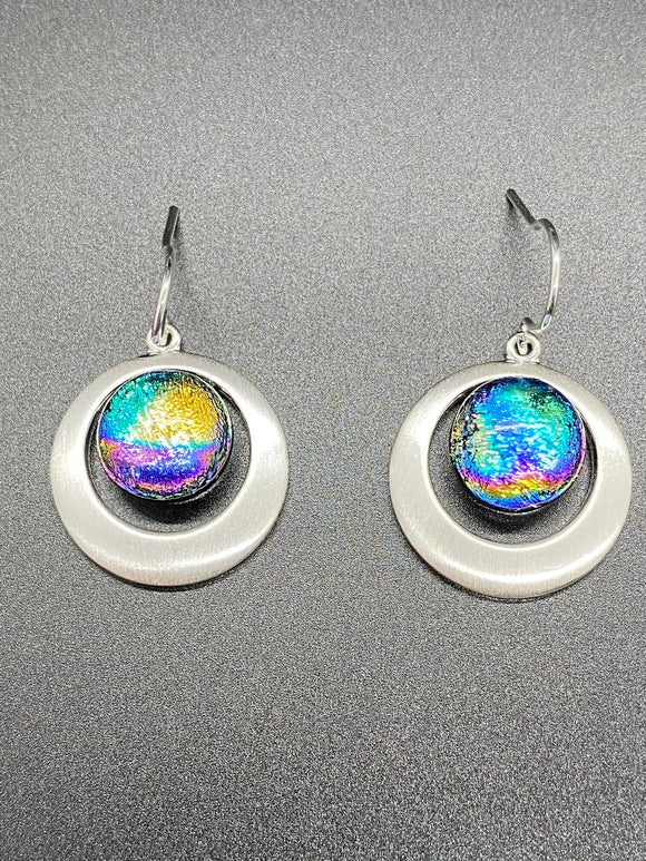 Fused Glass Earrings/Dichroic Glass/Round Double Silver Plated Setting