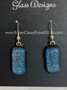 Fused Glass Earrings/Dichroic Glass/Silver Blue