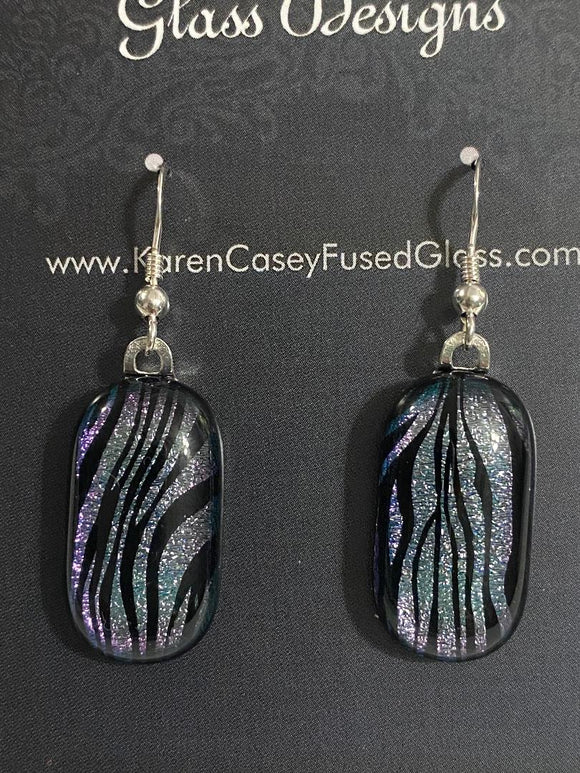Fused Glass Earrings Dichroic Glass Zebra