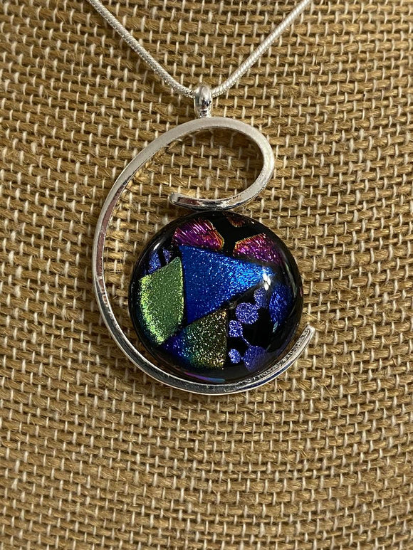 Pendant Spiral with Dichroic Glass