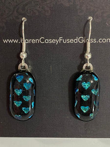 Fused Glass Earrings/Dichroic Glass/Turquoise Hearts on Black
