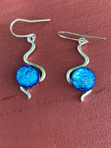 Fused Glass Earrings, The Wiggles, Dichroic and metal
