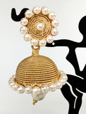 classic gold jhumkas with pearl