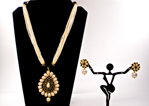 cluster pearl with traditional paan shaped pachi pendant