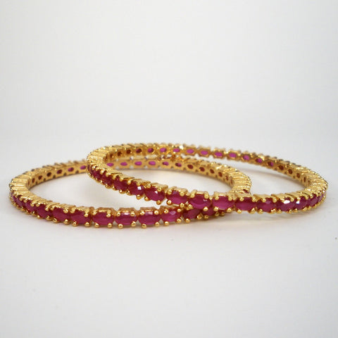 ruby bangles with oval stones