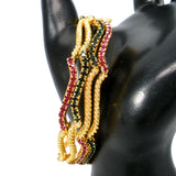 wavy bangles with colored stones