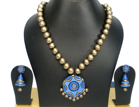 ethnic terracotta set in blue