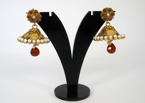coin jhumkas in antique style