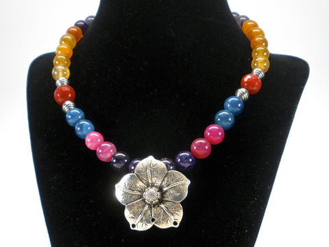 multicolor agate necklace with oxidized flower pendant