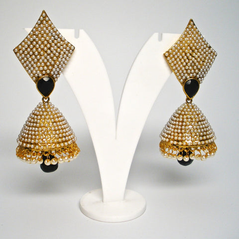 unique moti studded jhumkas
