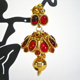 traditional kemp jhumkas in red