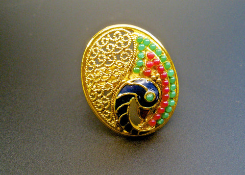 peacock finger ring