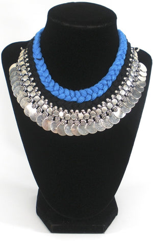 oxidized coin necklace in ethnic thread