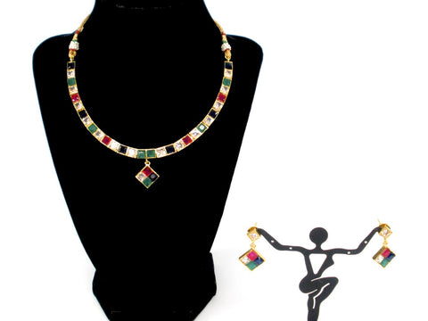 simple multi colored stone necklace set
