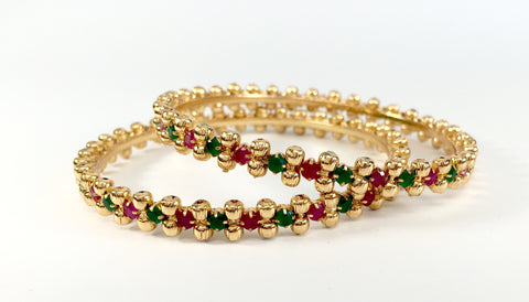 red and green stone bangles with gold beads
