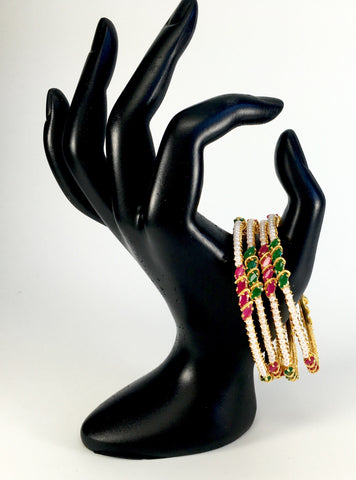 ruby emerald and pearl combo bangles