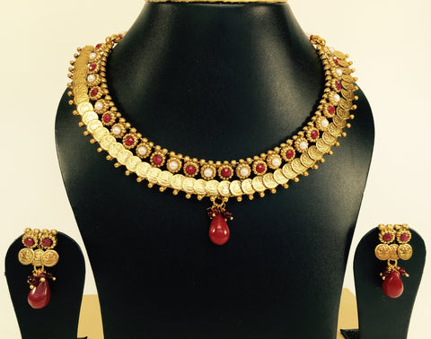small lakshmi coin necklace set