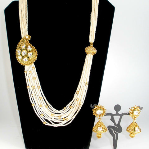 long pearl haram with statement kundan side pendant