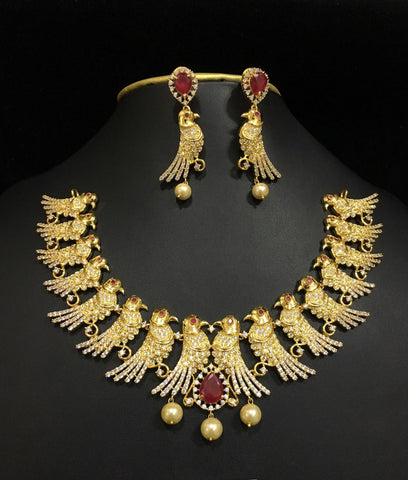 grand american diamond parrot necklace set