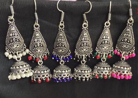oxidized paan shaped earrings with jhumkas