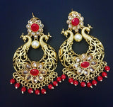 peacock style chandbali brass earrings