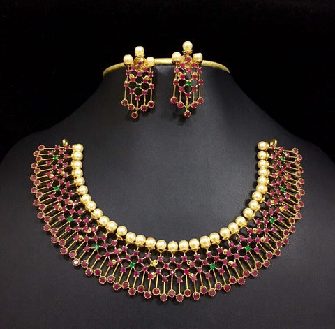 grand ruby emerald and pearl broad necklace set