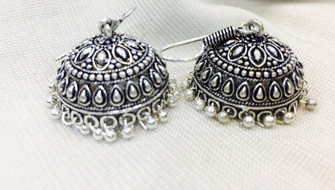 oxidized german silver jhumkas
