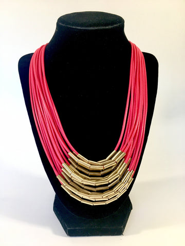 multi layered thread chain with golden tube clusters