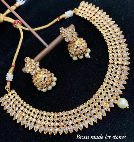 Polki necklace set on gold finish
